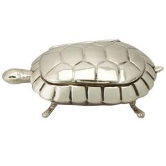 Sterling Silver 'Tortoise' Trinket Box/Compact, Antique Edwardian