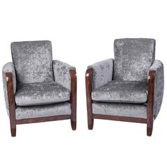 Exceptional Pair of Armchairs or Club Chairs by Jules Leleu