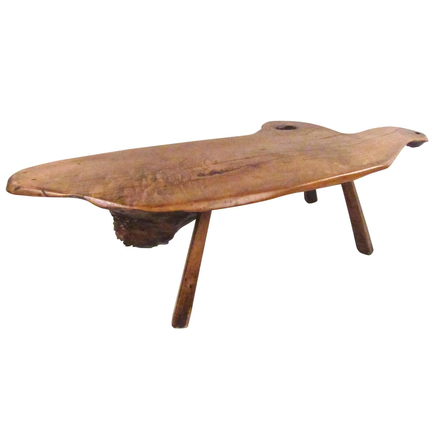 Vintage Rustic Freeform Tree Slab Coffee Table For Sale At: Vintage Rustic Free Edge Tree Slab Coffee Table For Sale