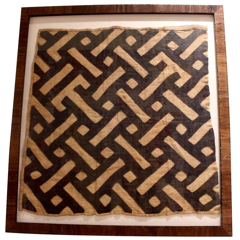 Midcentury Framed African Tribal Kuba Cloth