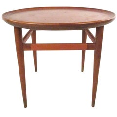 Mid-Century Modern Leather Top End Table by Henredon