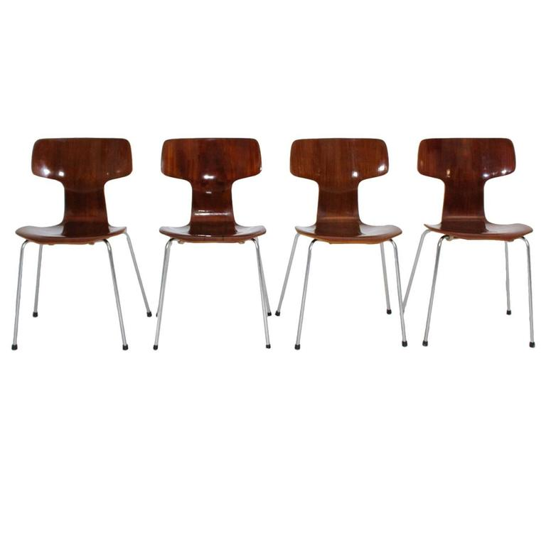 Set of Four Stacking Chairs by Arne Jacobsen Mod. 3103 Denmark for Fritz Hansen
