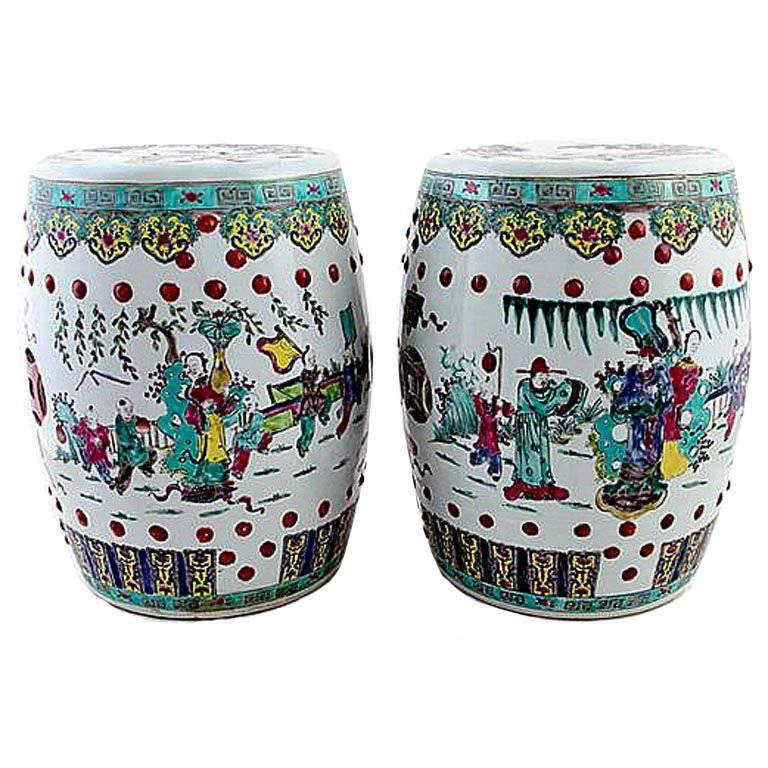 Pair Of Antique Chinese Ceramic Garden Stools For Sale