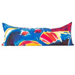 Hand-Painted Parrot Silk Charmeuse Snake Pillow
