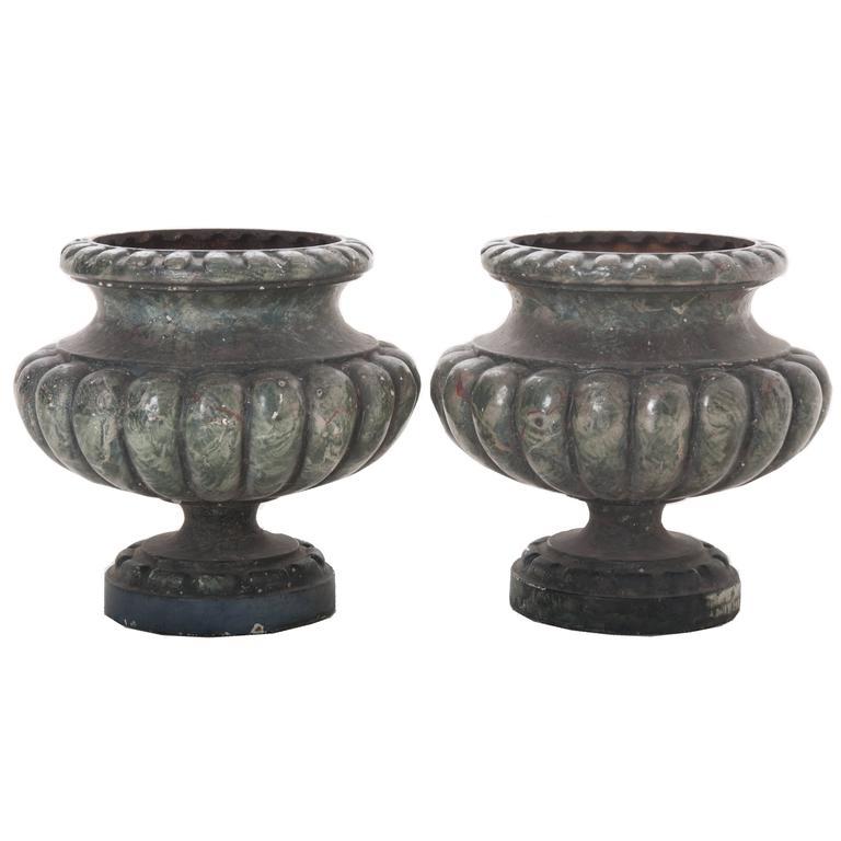 Pair of Vintage Faux Marble Painted Cast Iron Pots