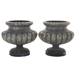 Pair of Vintage Faux Marble Painted Cast Iron Pots