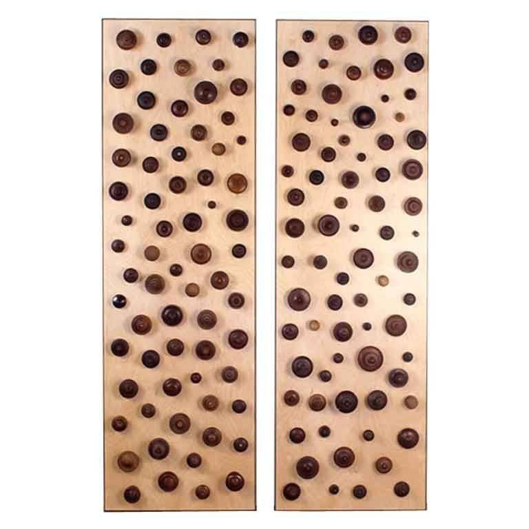 'Boucliers' Pair of Decorative Turned Wood Panels by Eric Thévenot 1