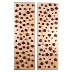 'Boucliers' Pair of Decorative Turned Wood Panels by Eric Thévenot