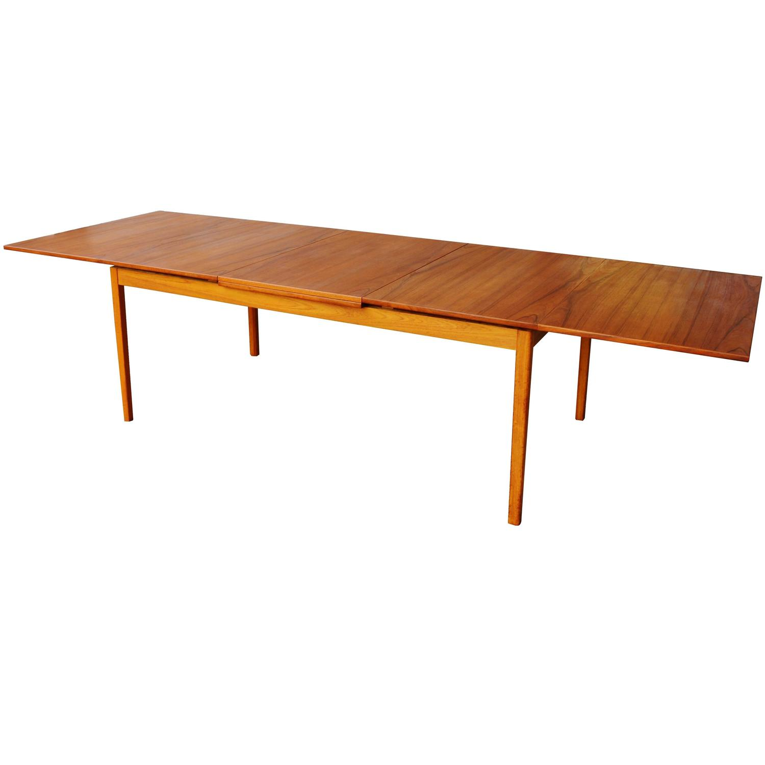 Huge skaraborgs danish teak flip open leaf dining table for Dining table with two leaves