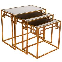 Mid-Century Italian Brass Nesting Tables with Greek Key Motif