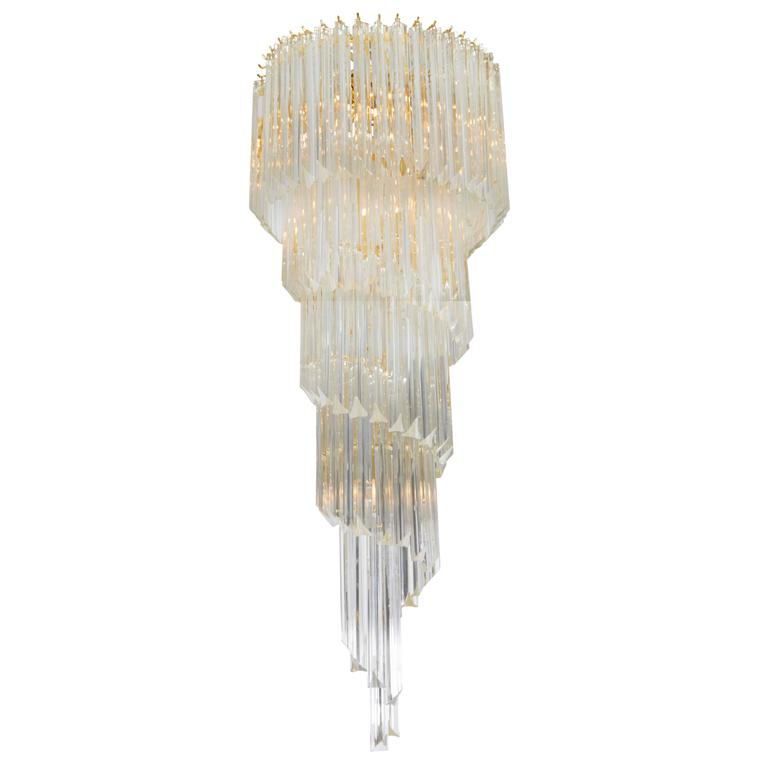 Cascading Chandelier with Crystal Prisms For Sale