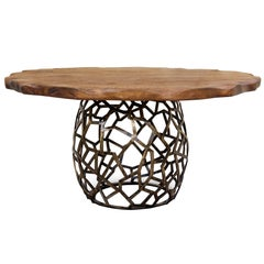 Pisa Dining Table Dark Aged Brass Base and Stained Oak Top