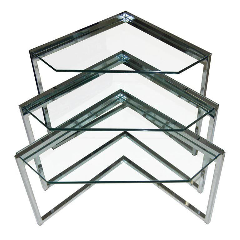 Polished Steel Nesting Tables 1