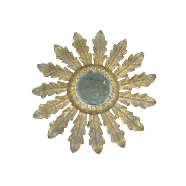 French 1940s Gilt Iron Mirror in the Form of Sunburst