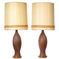 Textured Pair of Ceramic Table Lamps, 1960s