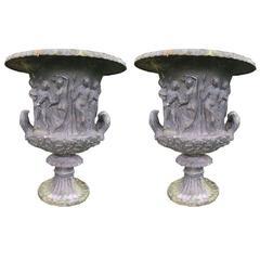 19th Century Pair of Antique Cast Iron Urns