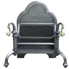 19th Century Victorian Cast Iron Fire Basket in the Gothic Manner