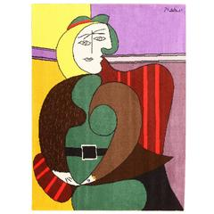 "Pablo Piccasso Tapestry Rug ""Femme Assise Dans Un Fautauil Rouge"""