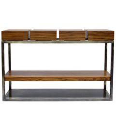 Subtle Console Table with Antique Brushed Brass and Poplar Wood Veneer