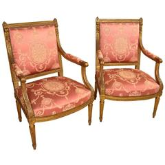 Pair of 19th Century Napoleon III Period Armchairs or Fauteuilles