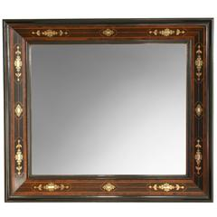 Aesthetic Movement Brass, Mother of Pearl, Rosewood and Ebony Small Mirror
