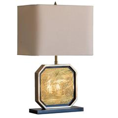 Asian Inspired French Vintage Brass Lamp, circa 1960