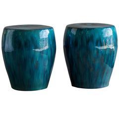 Pair of Blue Glazed Handmade Garden Seats from China