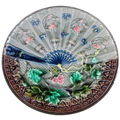 Villeroy & Boch, Japonisme Majolica Fan and Floral Wall-Cabinet Plate