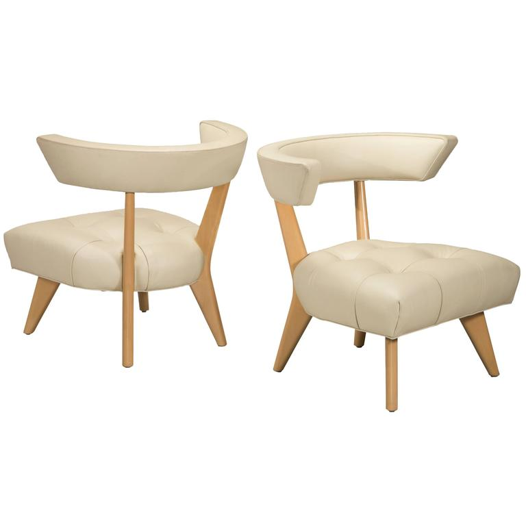 Billy Haines, Pair Of Blonde Glazed Wood And Ivory Upholstered Hostess  Chairs For Sale