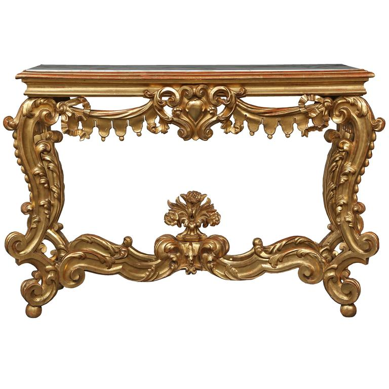 Italian Mid-19th Century Venetian Giltwood and Marble Freestanding Console