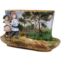 19th Century French Hand-Painted Barbotine Oval Vase with Young Girls Figures