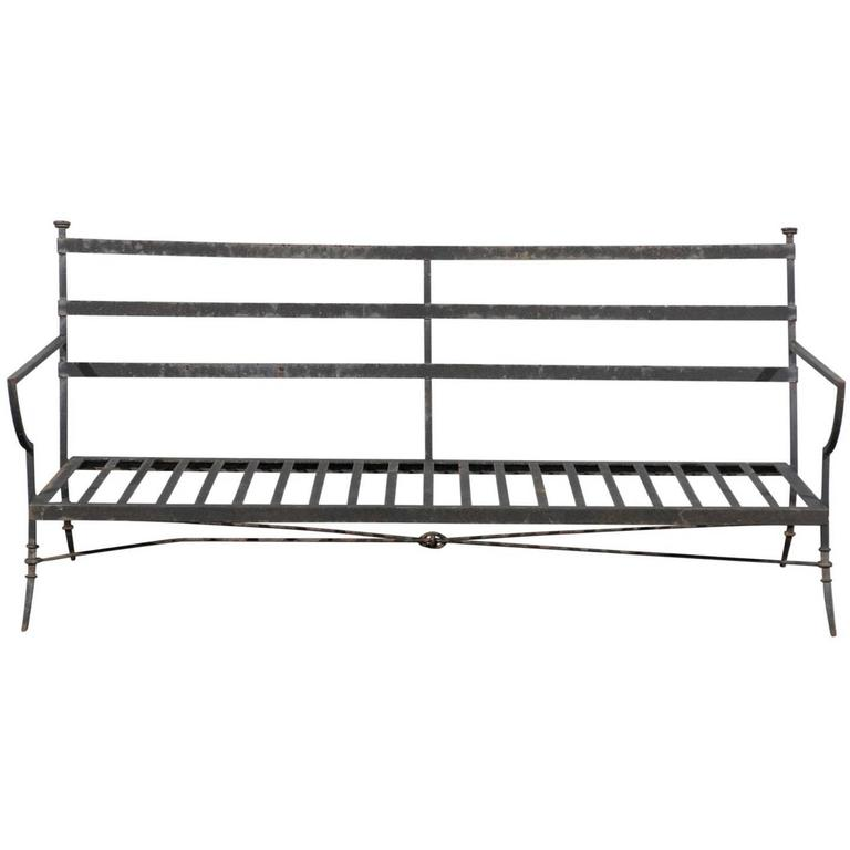 20th Century Iron Settee in the Style of Jacques Adnet