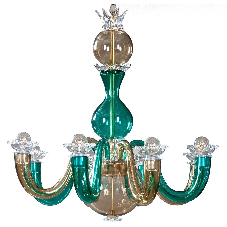 Gio Ponti for Venini Murano Glass 8 Arm Chandelier For Sale at
