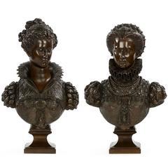 Pair of Mathurin Moreau Renaissance Bronze Sculpture Busts