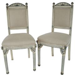 Pair of Painted Gray White and Blue Italian Venetian Side Chairs