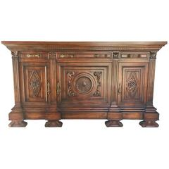 Antique Italian 19th Century Walnut Sideboard