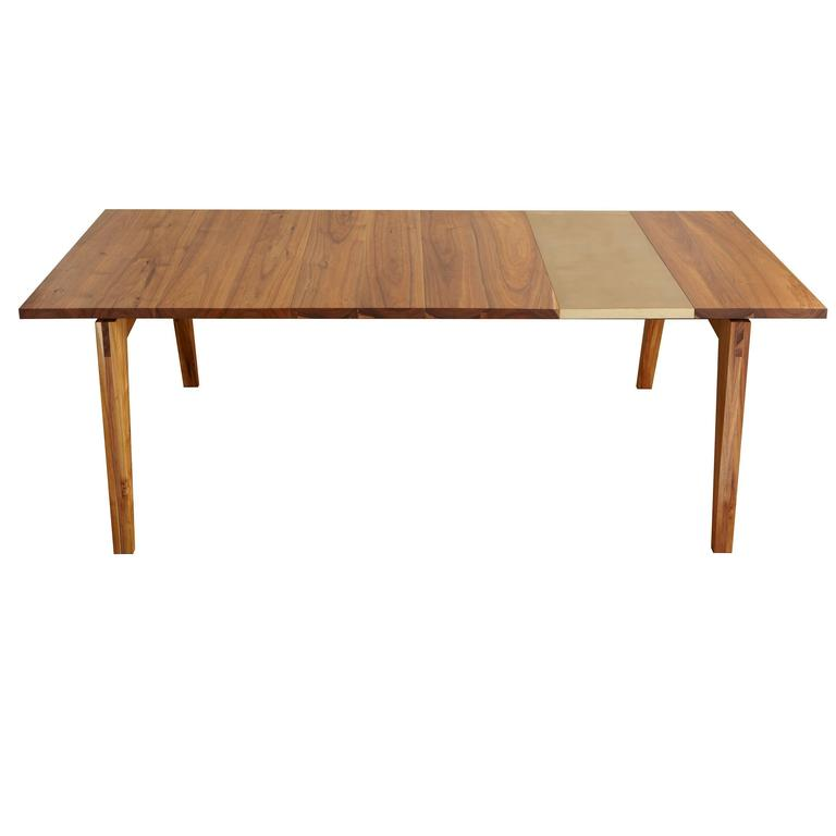 Black acacia and bronze leaf dining table by studio roeper for Black dining table with leaf