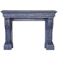 Antique Restauration Style Fireplace with Lion's Paws in Blue Turquin Marble