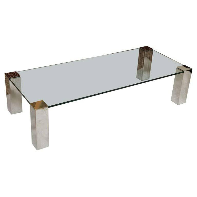Chic Paul M. Jones Chrome and Glass Cocktail Coffee Table