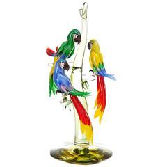 Three Murano Glass Parrots