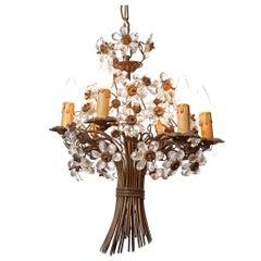 1920s Maison Baguès Six-Light Bronze and Crystal Flower Chandelier