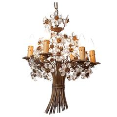 1920s Maison Baguès Six-Light Bronze and Crystal Flower Chandelier
