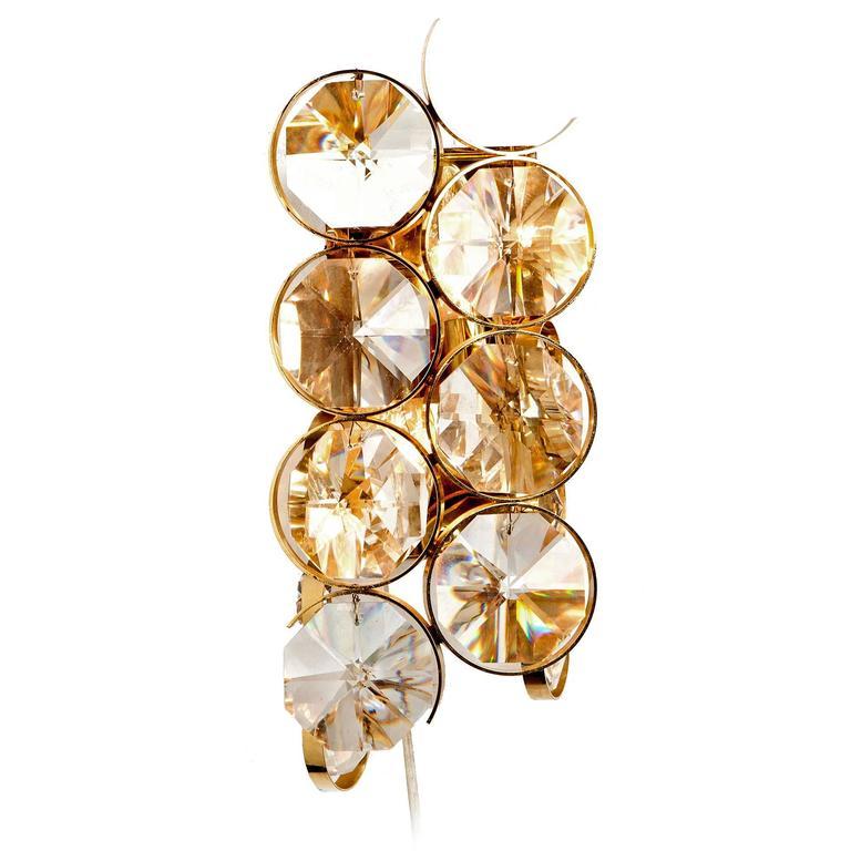 1960s Palwa Two-Light Gilt Brass and Diamond Shaped Glass Sconces