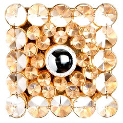 One-Light Gilt Brass and Crystal Glass Square Sconce by Palwa, 1960s