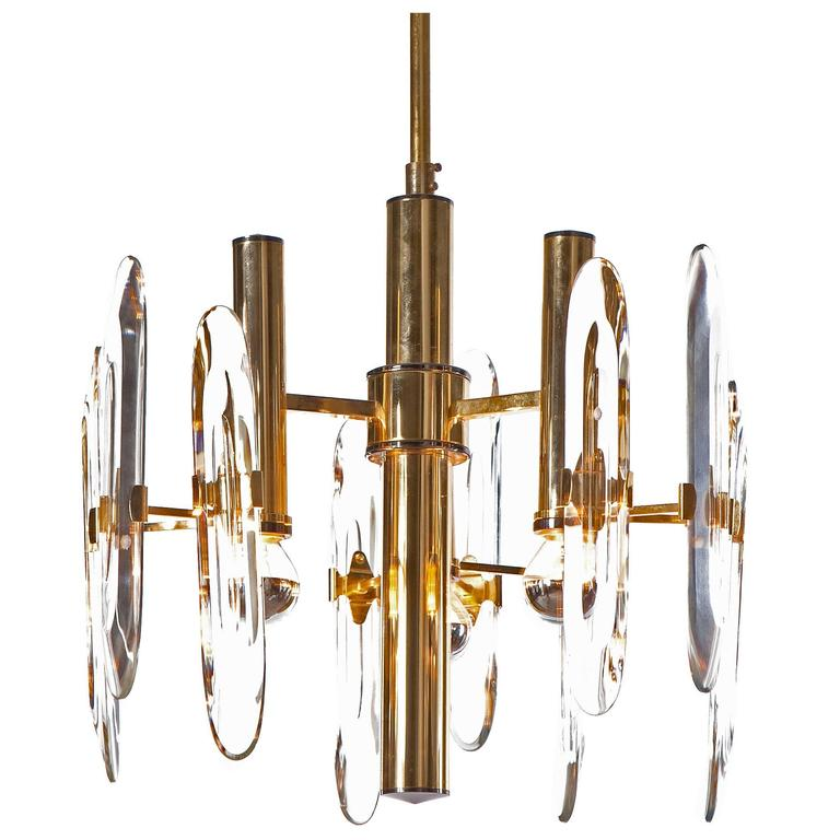Gaetano Sciolari Three-Light Chandelier, 1960s