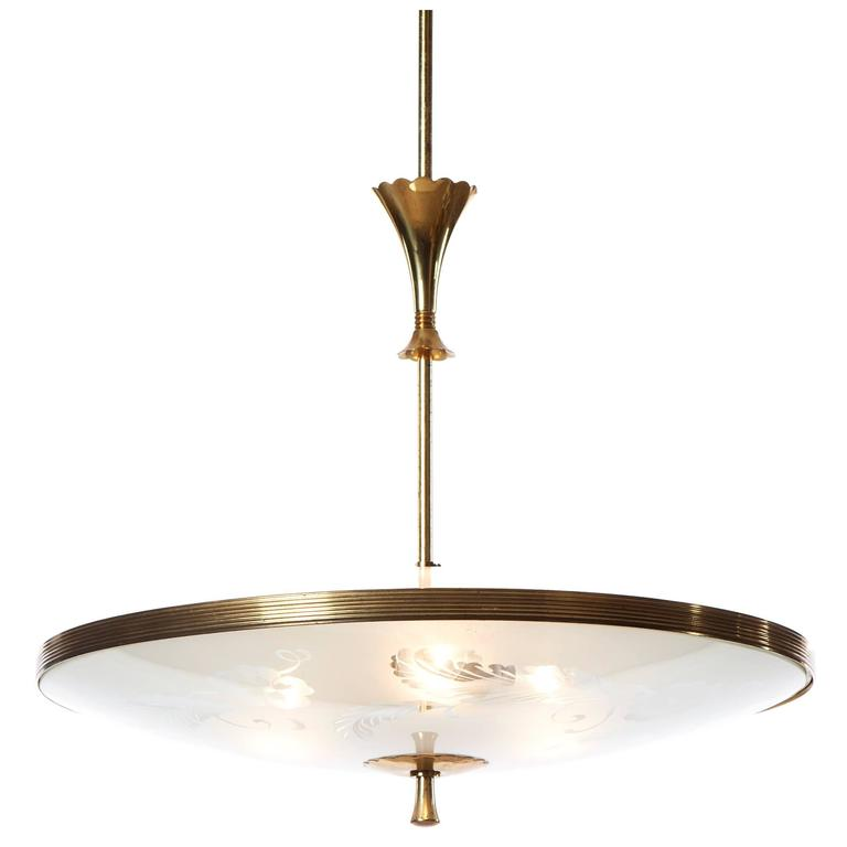 1940s Three-Light Pendant attributed to Pietro Chiesa for Fontana Arte, Italy For Sale