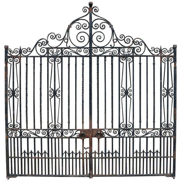 Pair of antique wrought iron driveway gates at stdibs