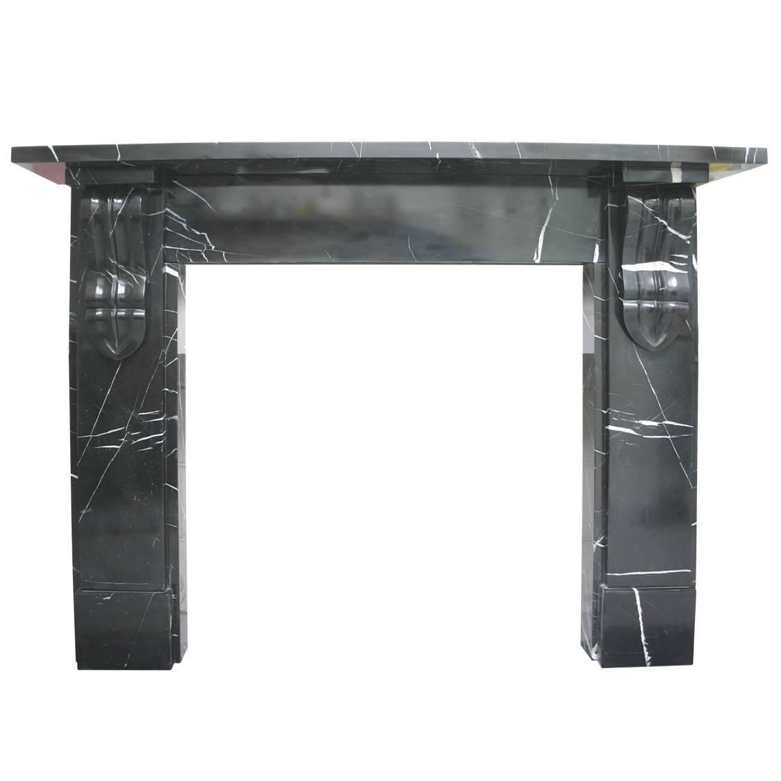 19th century victorian carved irish black marble fire surround for
