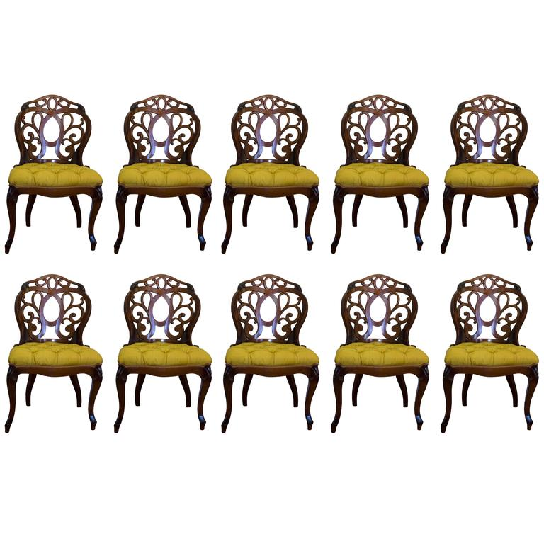 1940s Hollywood Regency Carved Mahogany Dining Chairs, Set of Ten
