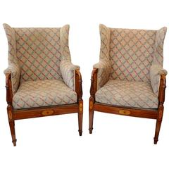 Rare Pair of English Country House Satinwood Wing Chairs, circa 1890
